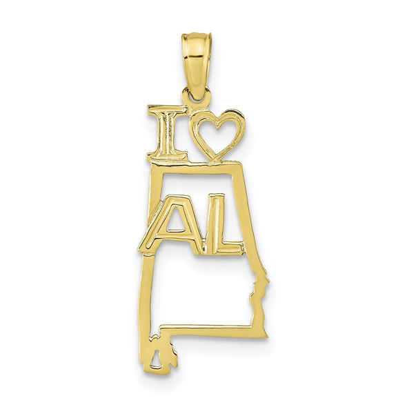 10k Yellow Gold Solid Alabama State Pendant