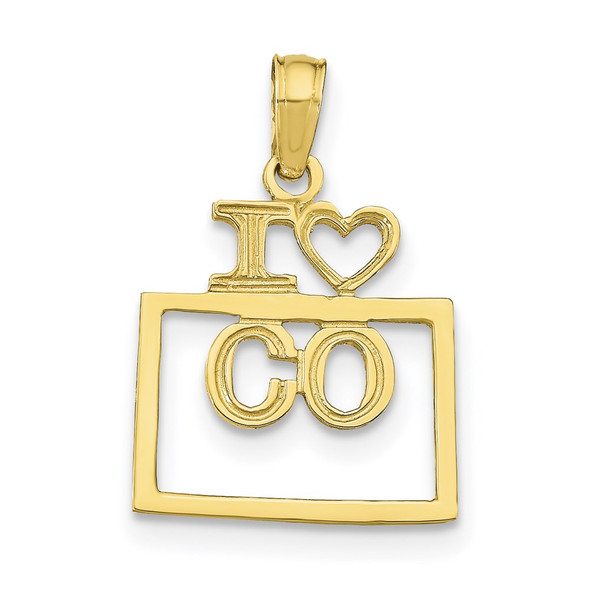 10k Yellow Gold Solid Colorado State Pendant