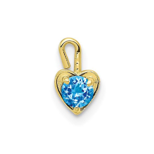 10k Yellow Gold December Simulated Birthstone Heart Charm