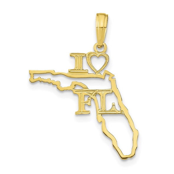 10k Yellow Gold Solid Florida State Pendant