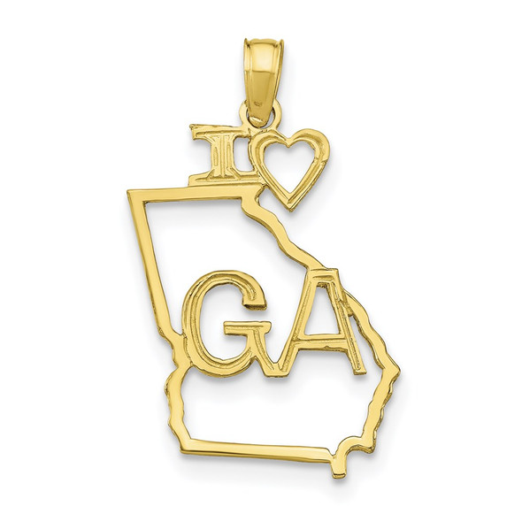 10k Yellow Gold Solid Georgia State Pendant