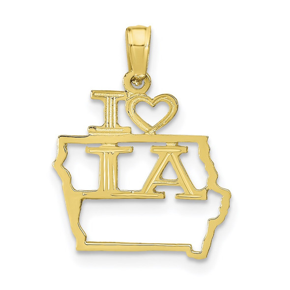 10k Yellow Gold Solid Iowa State Pendant