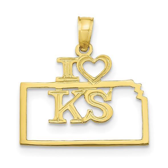 10k Yellow Gold Solid Kansas State Pendant