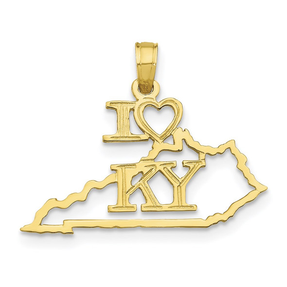 10k Yellow Gold Solid Kentucky State Pendant
