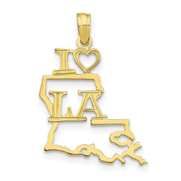 10k Yellow Gold Solid Louisiana State Pendant