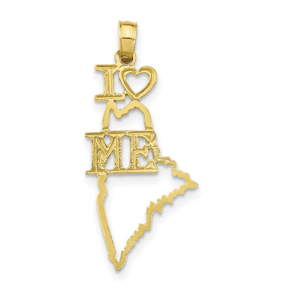 10k Yellow Gold Solid Maine State Pendant