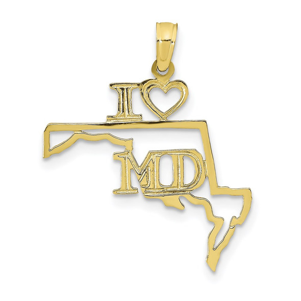 10k Yellow Gold Solid Maryland State Pendant