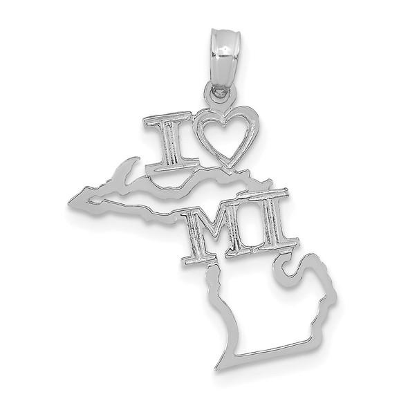 14K White Gold Solid Michigan State Pendant