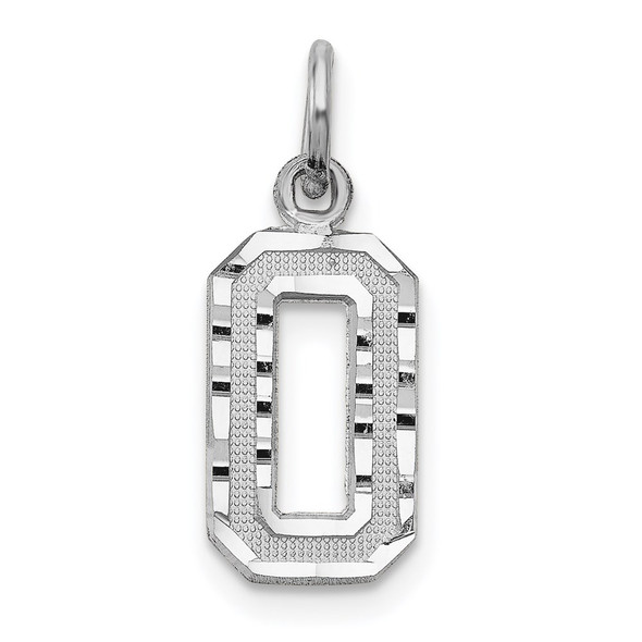 14k White Gold Casted Small Diamond-Cut Number 0 Charm
