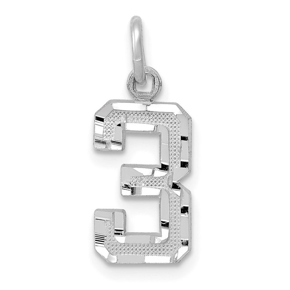 14k White Gold Casted Small Diamond-Cut Number 3 Charm