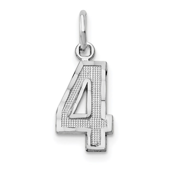 14k White Gold Casted Small Diamond-Cut Number 4 Charm
