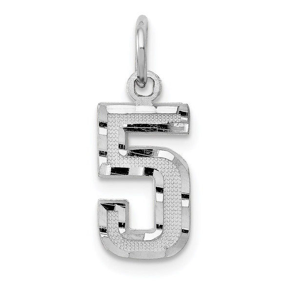 14k White Gold Casted Small Diamond-Cut Number 5 Charm