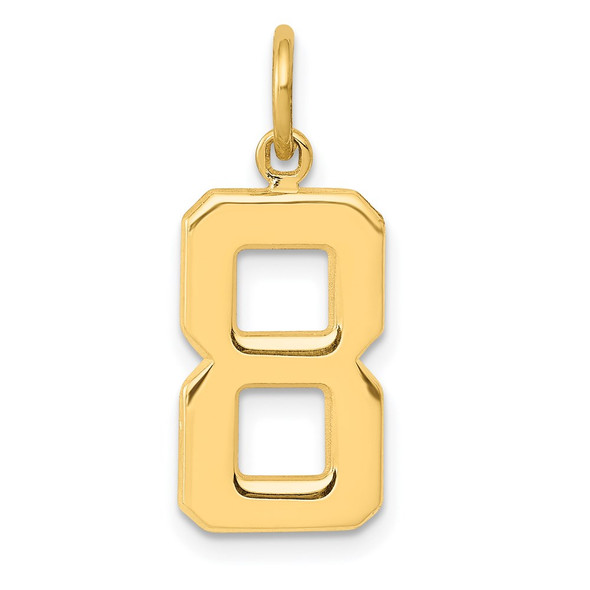 14k Yellow Gold Casted Medium Polished Number 8 Pendant