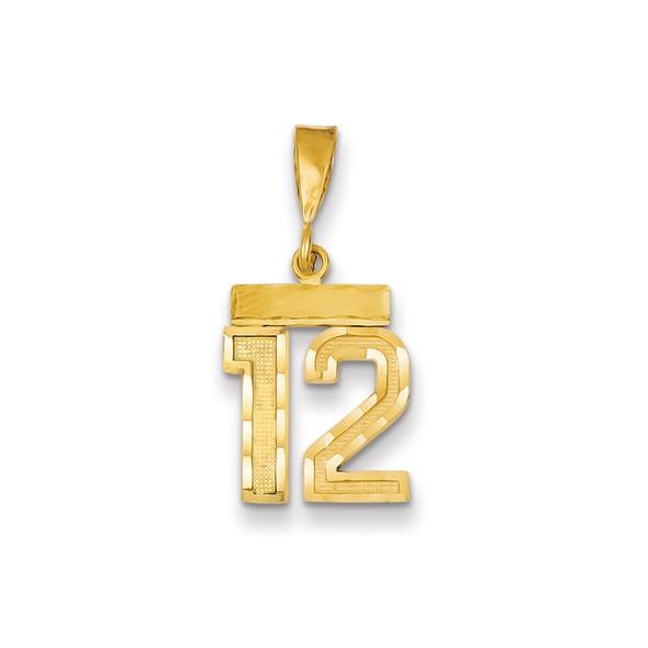 14k Yellow Gold Small Diamond-Cut Number 12 Charm