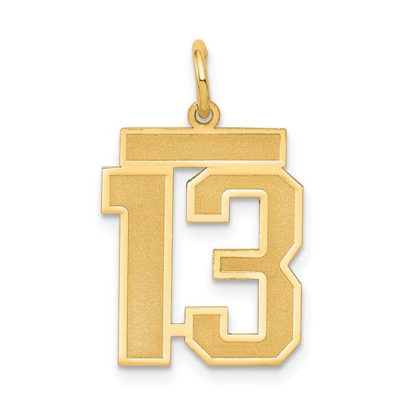 14k Yellow Gold Medium Satin Number 13 Charm