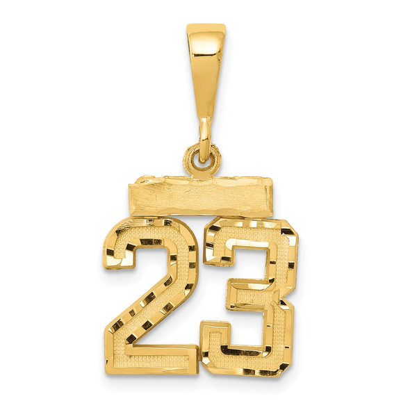 14k Yellow Gold Small Diamond-Cut Number 23 Pendant