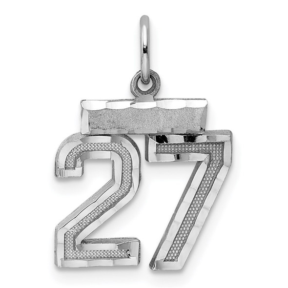 Sterling Silver Rhodium-plated Small #27 Charm