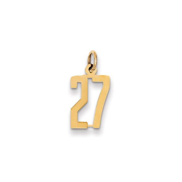 14k Yellow Gold Small Polished Elongated 27 Charm
