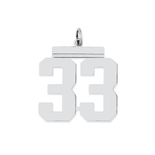 Sterling Silver Rhodium-plated Large Polished Number 33 Charm