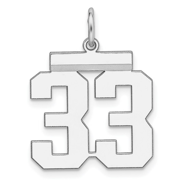 Sterling Silver Rhodium-plated Medium Polished Number 33 Charm
