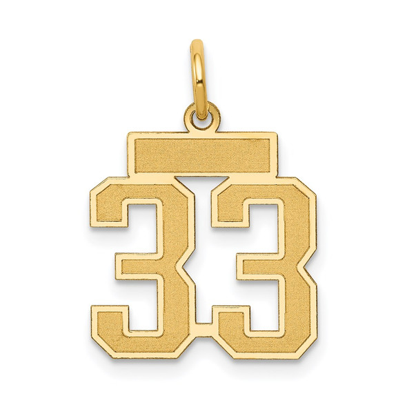 14k Yellow Gold Small Satin Number 33 Charm