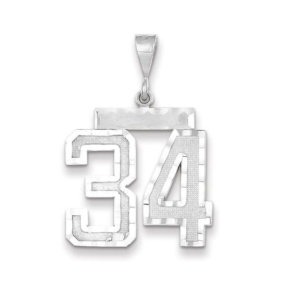 14k White Gold Large Diamond-Cut Number 34 Pendant