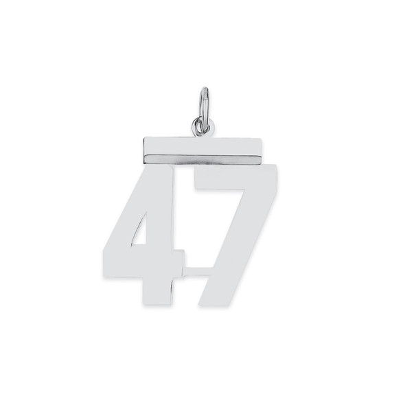 Sterling Silver Rhodium-plated Medium Polished Number 47 Charm