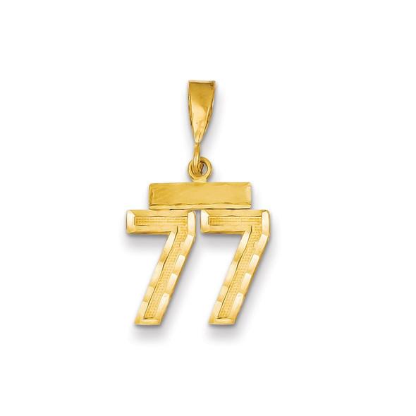 14k Yellow Gold Small Diamond-Cut Number 77 Charm
