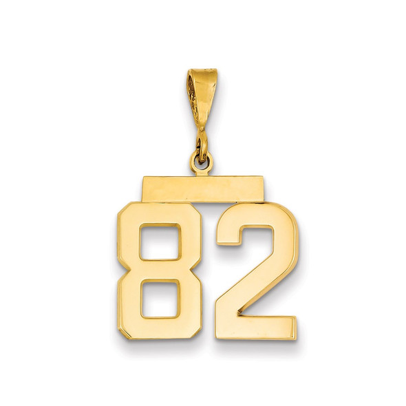 14k Yellow Gold Medium Polished Number 82 Pendant MP82