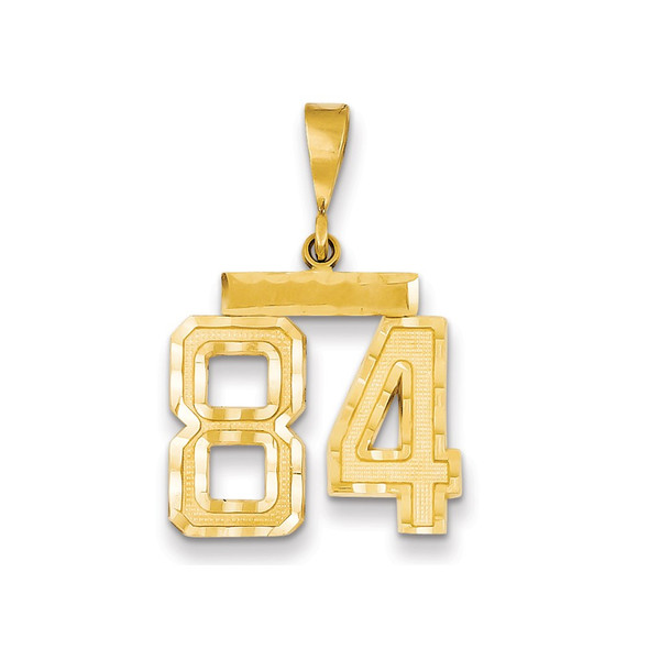 14k Yellow Gold Medium Diamond-Cut Number 84 Charm