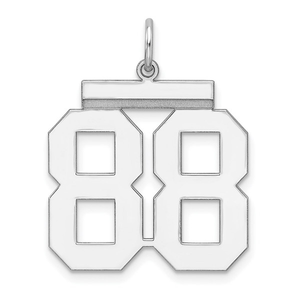 Sterling Silver Rhodium-plated Large Polished Number 88 Charm