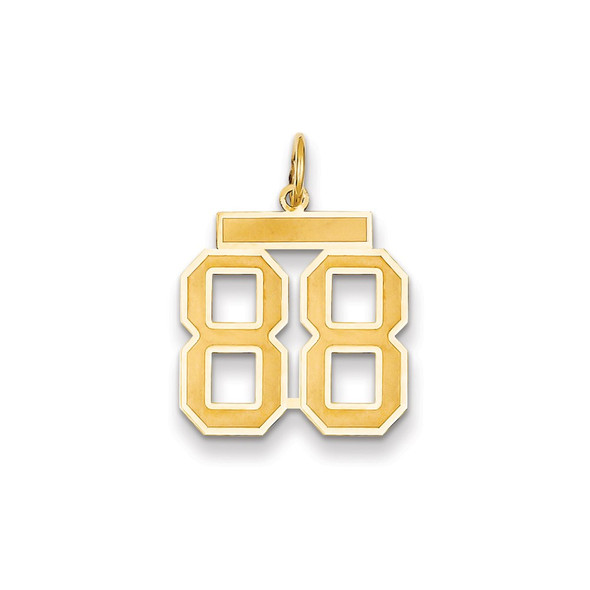 14k Yellow Gold Medium Satin Number 88 Charm
