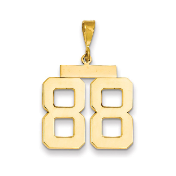 14k Yellow Gold Large Polished Number 88 Charm