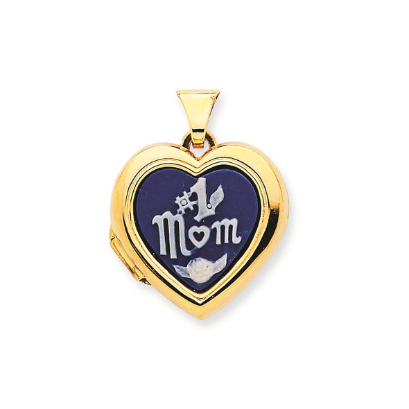 14k Yellow Gold Polished Heart-Shaped #1 Mom Agate Cameo Inlay Locket