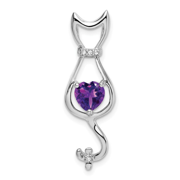 10k White Gold Amethyst and Diamond Cat Pendant