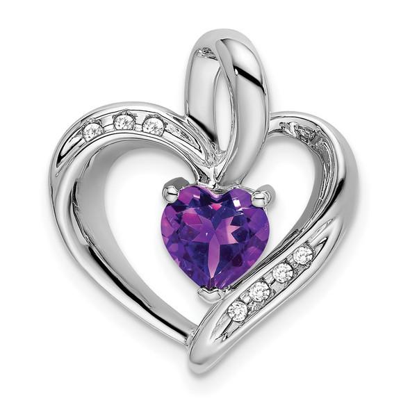 10k White Gold Amethyst & Diamond Heart Pendant PM7004-AM-005-1WA