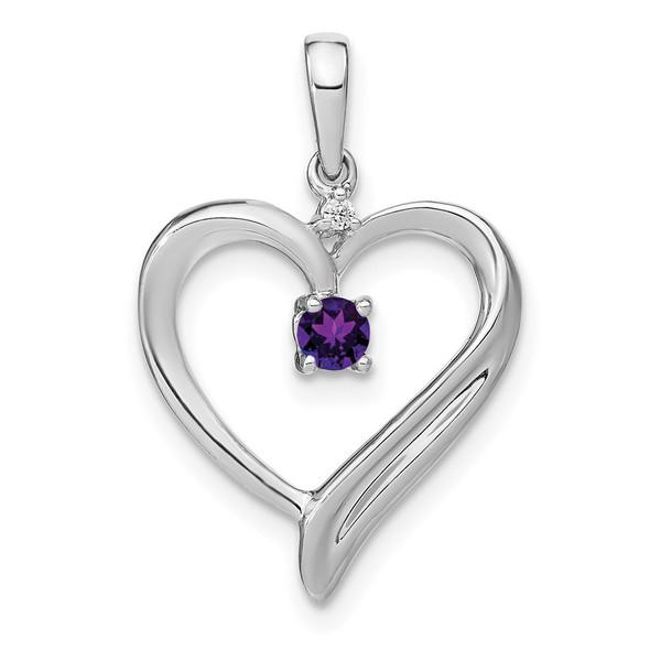 10k White Gold Amethyst & Diamond Heart Pendant PM7005-AM-001-1WA