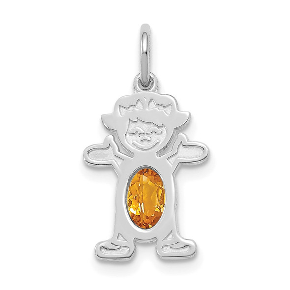 14K White Gold Girl 6x4 Oval Genuine Citrine-November Pendant