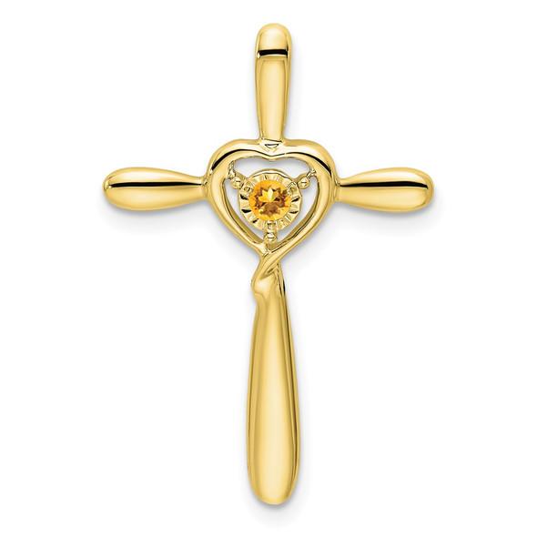 10k Yellow Gold Citrine Cross w/Heart Slide Pendant