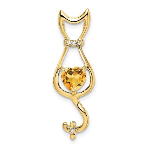 10k Yellow Gold Citrine And Diamond Cat Pendant