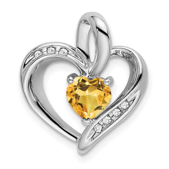 10k White Gold Citrine and Diamond Heart Pendant