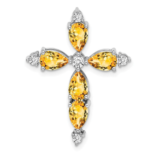 14k White Gold Citrine & Diamond Cross Pendant PM7040-CI-020-WA