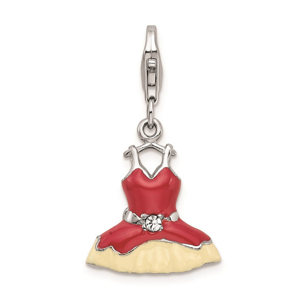 Rhodium-Plated Sterling Silver Pink Enameled Synthetic Crystal Dress Charm