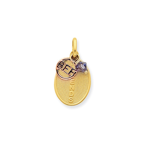 14k Two-Tone Gold Friends With BFF And Purple Crystal Charm
