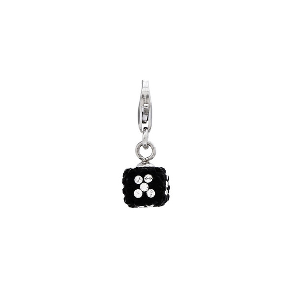 Sterling Silver 3-D White/Black Crystal Mini Dice w/Lobster Clasp Charm
