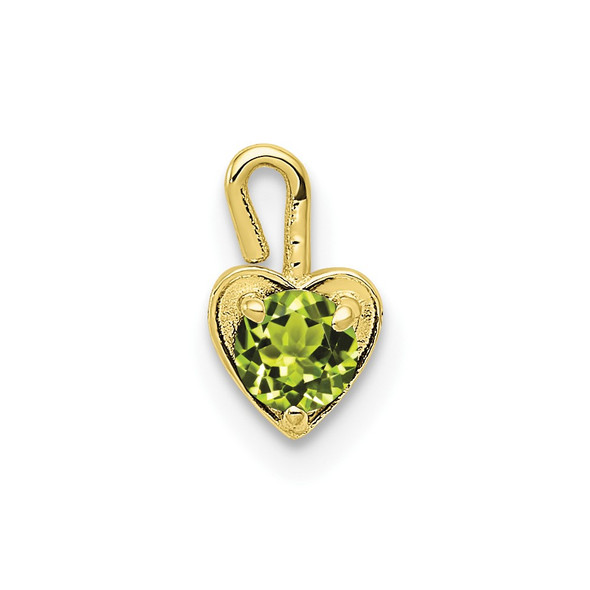 10k Yellow Gold August Simulated Birthstone Heart Charm