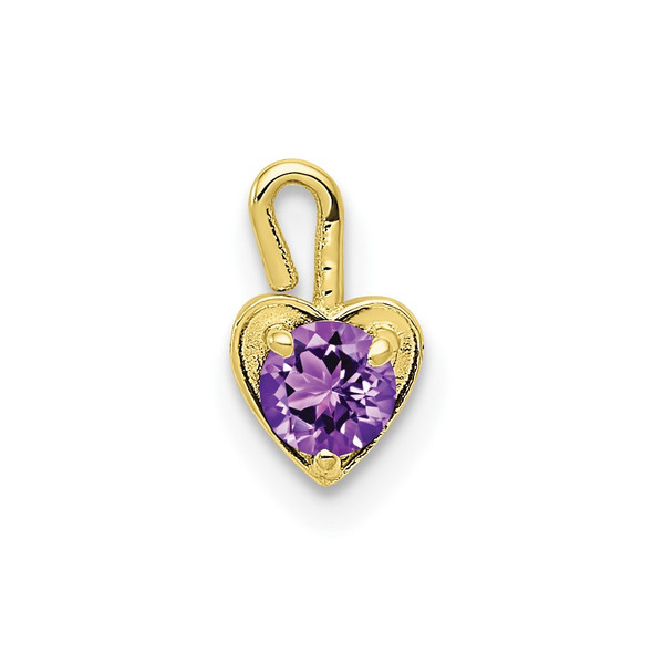 10k Yellow Gold February Simulated Birthstone Heart Charm