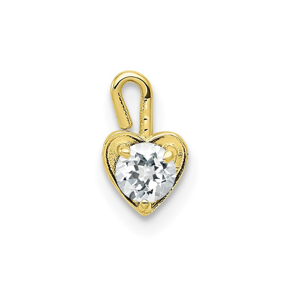 10k Yellow Gold April Simulated Birthstone Heart Charm