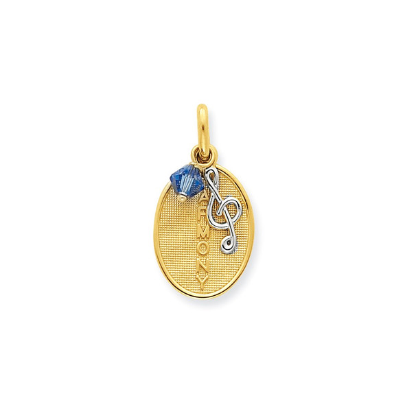 14k Two-Tone Gold Harmony With Treble Clef And Blue Crystal Charm