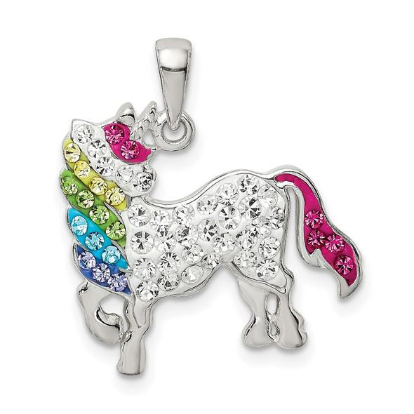 Sterling Silver Multi-colored Preciosa Crystal Unicorn Pendant